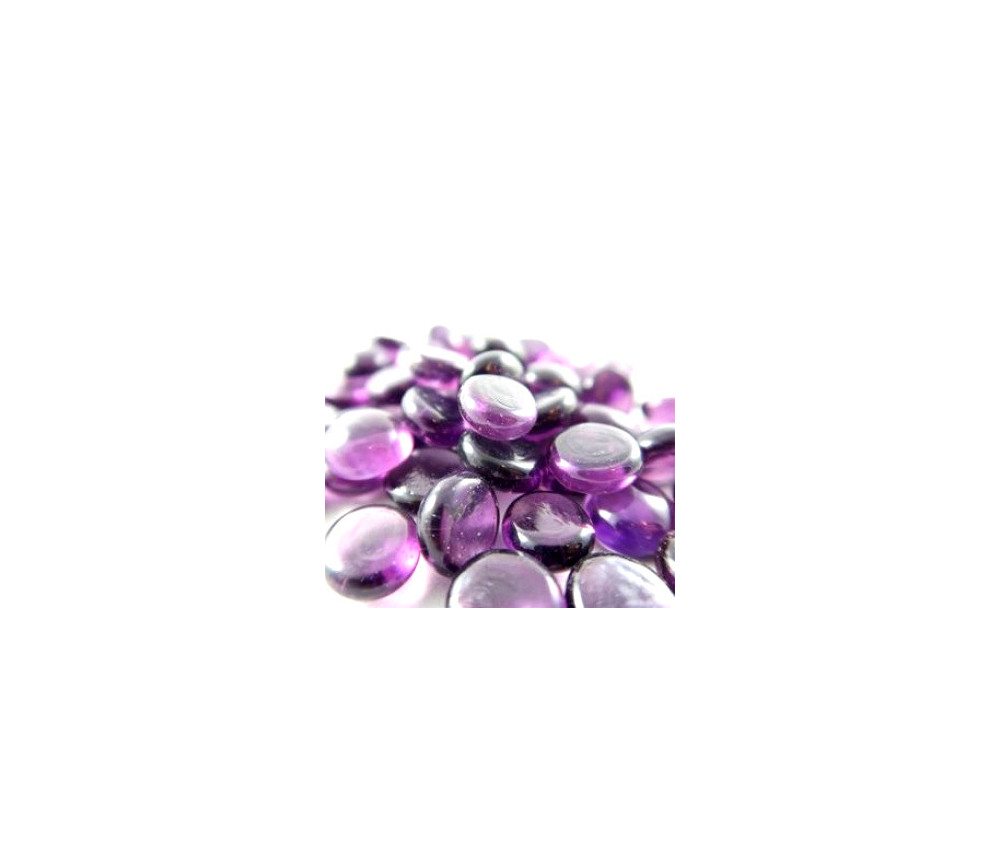 Tube 40 galets violet translucide pierre de vie 12 x 7 mm