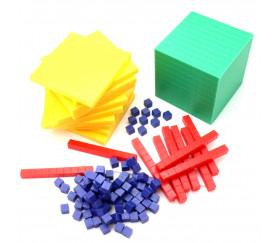 Set Base 10 unités bleu - 121 pièces centaines, dizaines et unités bleu