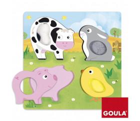 Puzzle tactile animaux de la ferme en bois GOULA