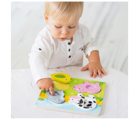 Puzzle animaux de la ferme en en bois et tissus - GOULA - 0 à 3 ans
