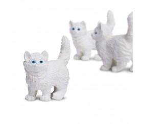 Figurine mini mini chat blanc pour jouer 15 x 8 x 20 mm