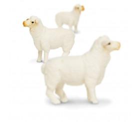 Lot de 6 figurines de mouton Blanc H 3,5-5 cm