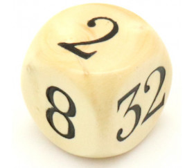 Dé doubleur 2 4 8 16 32 64 videaux bois 18 mm backgammon