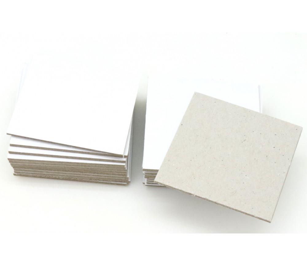 24 tuiles carré 40x40 mm jetons blanc/gris rigide