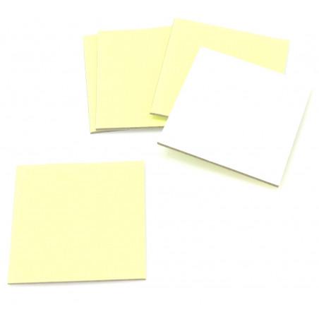 24 carrés 4 x 4 cm carton rigide jaune/blanc vierge tuiles à personnaliser