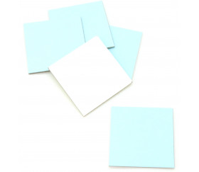 24 carrés 4 x 4 cm carton rigide bleu clair/blanc vierge tuiles à personnaliser