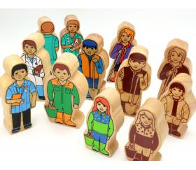 Fermière / bergère en bois naturel 100 x 47 x 25 mm personnage jeu