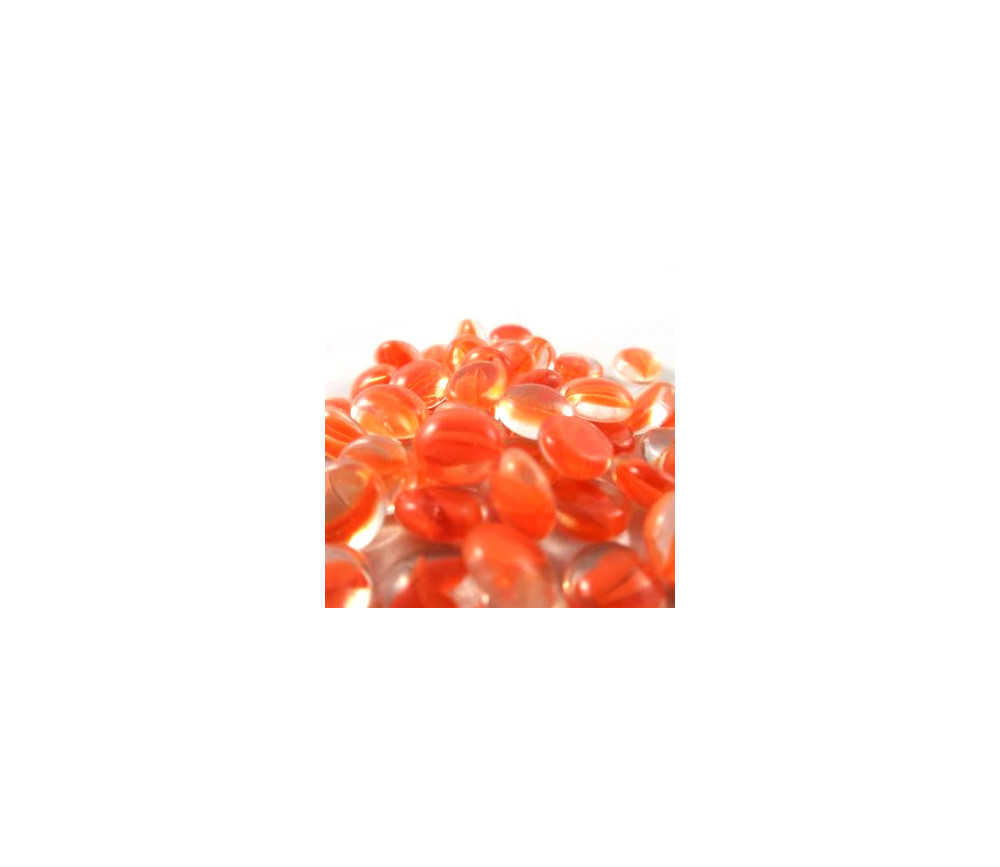 Tube 40 galets orange oeil de chat pierre de vie 12 x 7 mm