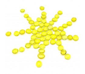 Tube 40 Galets jaunes translucides pierres de vie billes plates pour jeu
