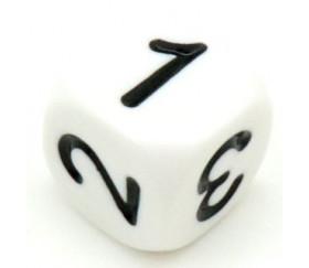 Dé chiffres 123456 en 16 mm blanc gravage noir