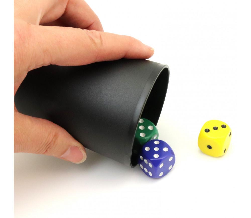 Gobelet plastique noir pour lancer de dés 7.8 cm de haut