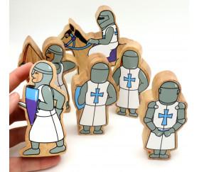 6 Figurines chevaliers en bois bleus et blancs personnage jeu