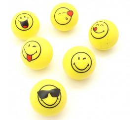 6 Balles smiley Super Rebond 3 cm de diamètre - rebondissantes