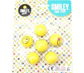 6 Balles visage smiley Super Rebond 3 cm de diamètre - rebondissantes