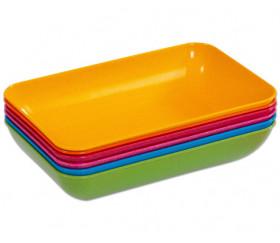 Lot de 6 plateaux colorés grand modèle en bioplastique