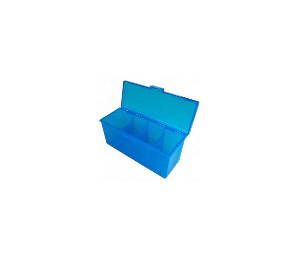 Deck box - Boite 4 compartiments bleu plastique 21.7 x 8.2 x 10 cm