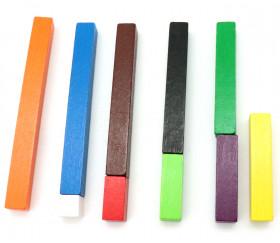 Cuisenaire - set élève 10 bâtonnets bois de 1 à 10 cm