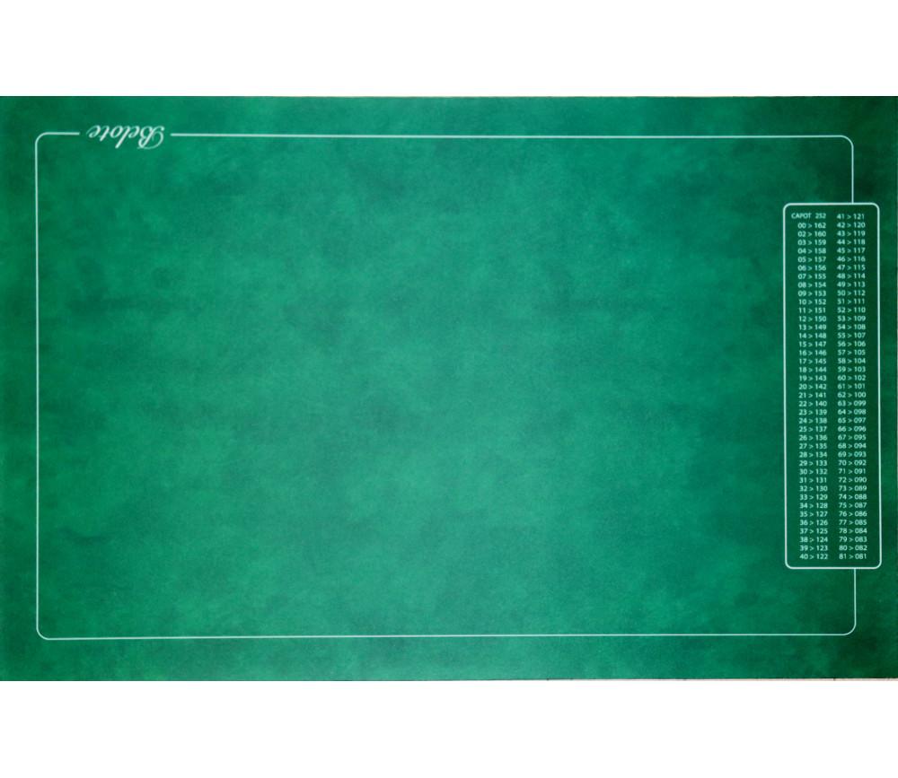 Tapis jeu Belote vert avec grille points 4 joueurs