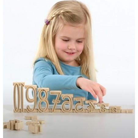 Tour des nombres - bois recyclé 34 pièces naturelle