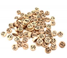 Jetons de loto numérotés de 1 à 90 en bois