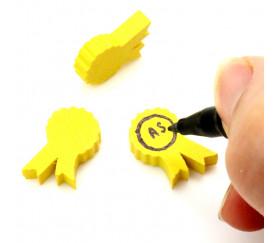 Pion médaille cocarde en bois jaune 20 x 15 X 5 mm