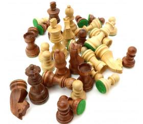 Pièces échecs 3 bois - buis et palissandre marron, taille 3