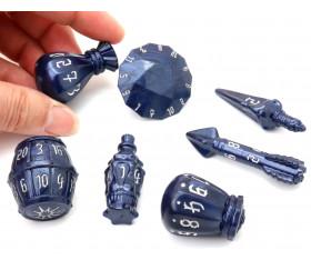 Set 7 dés originaux multi-faces PolyHero Rogue bleu nuit