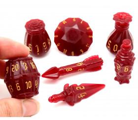 Set 7 dés originaux multi-faces Polyhero Rogue rouge