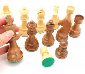 Pièces échecs 5 bois - buis et palissandre marron, taille 5
