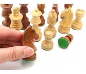 32 Pièces échecs bois T3 - buis et palissandre marron