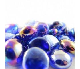 Tube 40 galets bleus nacrés pierre de vie 12 x 7 mm