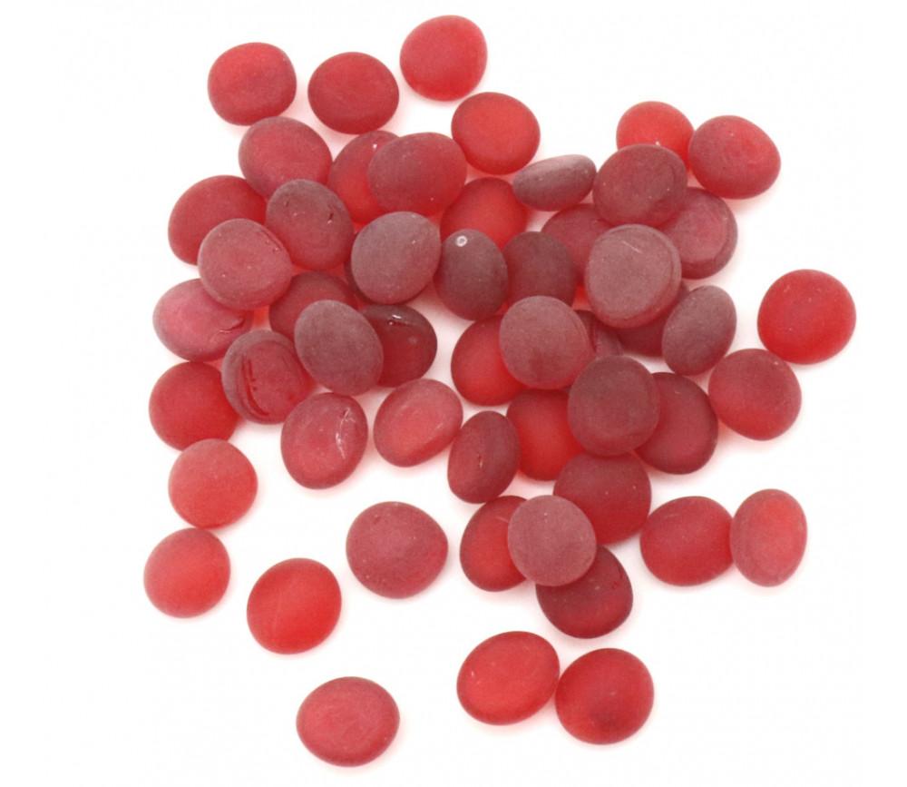 Tube 40 galets rouges givrés pierre de vie 12 x 7 mm