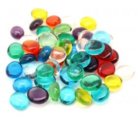 Tube 40 galets translucides multicolores pierre de vie 12 x 7 mm