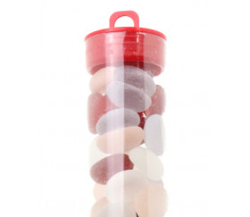 Tube 40 galets multicolores givrés pierre de vie 12 x 7 mm