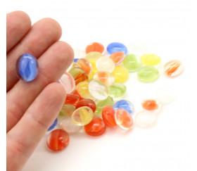 Tube 40 galets multicolores oeil de chat pierre de vie 12 x 7 mm