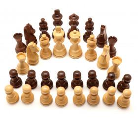 Pièces échecs bois taille 4 luxe acacia et buis