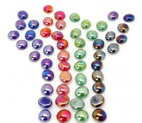 Tube 40 galets nacrés multicolores pierre de vie 12 x 7 mm