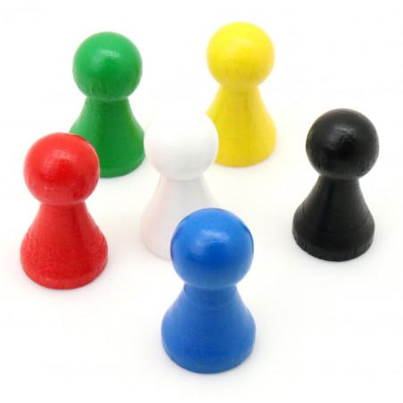 6 Pions bois 15 x 27 mm multicolores pour jeu - lot de 6 (rouge, vert, jaune, bleu, blanc et noir)