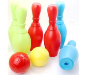 Set 6 quilles plastique 25 cm et 2 boules bowling