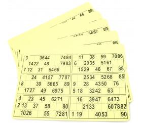 10 planches de 6 cartons loto rigides jaune format standard