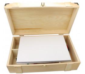 Coffret bois 37.5 x 22.4 x 11 cm charnières pour accessoires de jeu