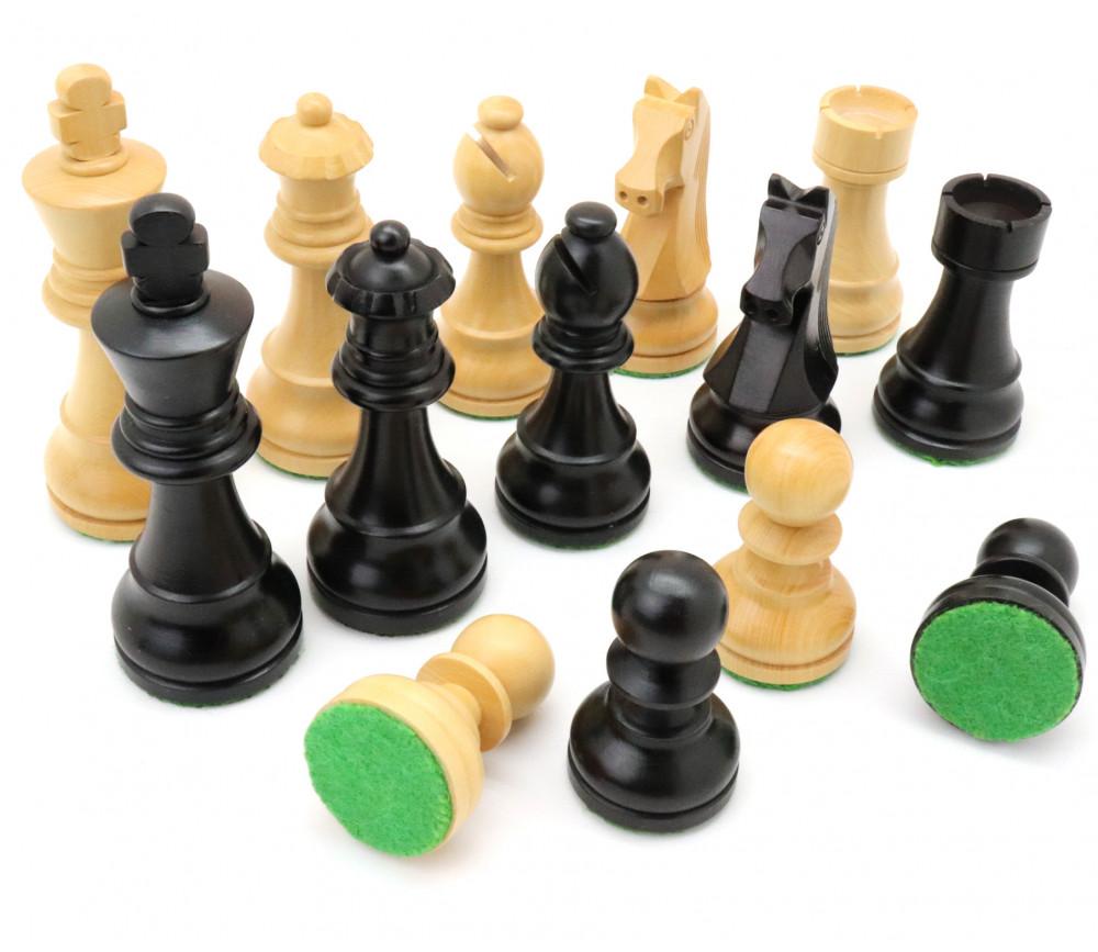 32 Pièces échecs bois T5 plombées - Buis et ébène (naturel et noir)