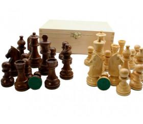 32 Pièces échecs bois T4 - Acacia et buis + coffret bois