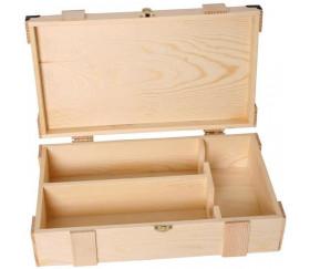 Grand coffret bois 37.5 x 22.4 x 11 cm avec charnières