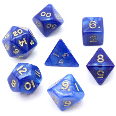 Lot de 7 dés perlés BLEU multi-faces