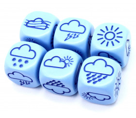Dé à jouer météo 18 mm avec nuages et soleil