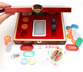 Coffret jeu bois Belote : 90 jetons nacrés + jeu de cartes
