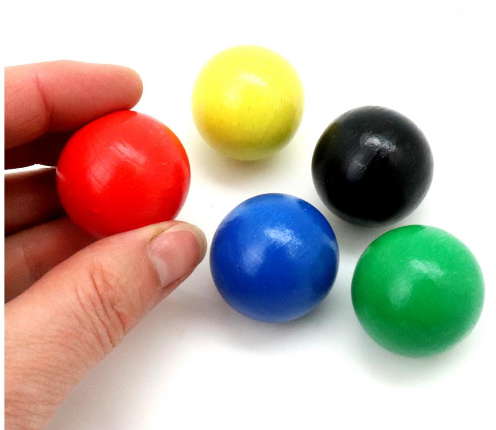 5 balles 30 mm bois cochonnet 5 couleurs pour jeux ou pétanque