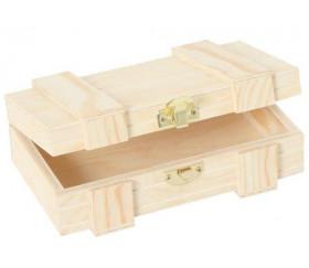 Coffret bois 23.5 x 14 x 9.1 cm charnières pour accessoires de jeux