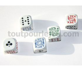 Lot 5 dés poker 16 mm pour poker d'as